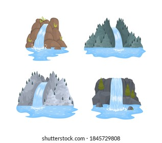 River waterfall falls from cliff on white background. Picturesque tourist attraction with small waterfall and clear water. Cartoon landscapes with mountains and trees. Vector illustration.