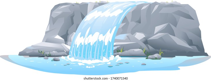 River waterfall falls from cliff in side view isolated illustration, picturesque tourist attraction with small waterfall and clear water, waterfall on steep wide rocky stream