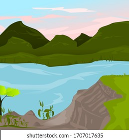 Rivers and mountains vector illustrated.