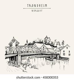 Riverside And Amazing Historic Bridge In Trondheim Norway Europe Old Town Wooden