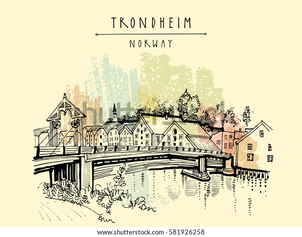 Riverside and amazing historic bridge in Trondheim, Norway, Europe. Old town, wooden houses and a church. Hand drawing in retro style. Vintage touristic postcard, poster or book illustration in vector