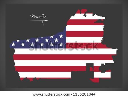 Riverside California Map American National Flag Stock Vector ...