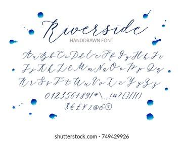 Riverside - handwritten Script font. Hand drawn brush style modern calligraphy cursive typeface. Vector Brush type set.