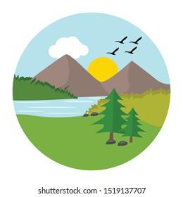 Riverside illustration vector design isolated