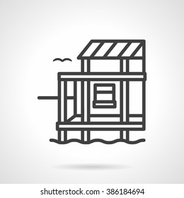 Riverside or lake cottage. Village architecture. Rest and leisure. Vector icon simple black line style. Single design element for website, business.
