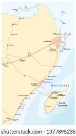 riviera maya and the Holbox island road vector map, Mexico