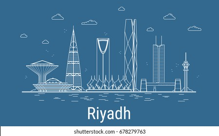 Riyadh city, Line Art Vector illustration with all famous towers. Linear Banner with Showplace. Composition of Modern buildings, Cityscape. Riyadh buildings set