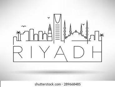 Riyadh City Line Silhouette Typographic Design