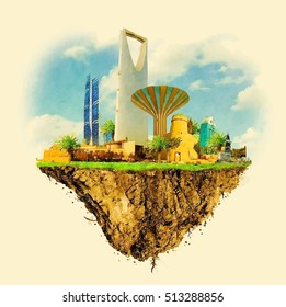 RIYADH city on floating land vector water color illustration