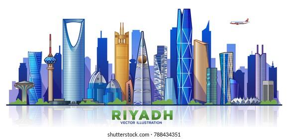 Riyadh city skyline. The capital of the country is Saudi Arabia. Vector illustration