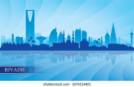 Riyadh city skyline silhouette background, vector illustration