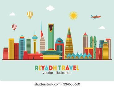 Riyadh detailed skyline. Vector illustration