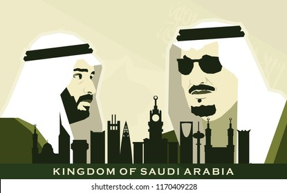 Riyadh, Saudi Arabia - August 31, 2018. Flag of Saudi Arabia. King Salman bin Abdelaziz dan Crown Prince Mohammed bin Salman. Vector Illustration. Eps 10.