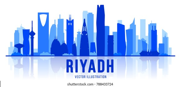 Riyadh (Saudi Arabia) city silhouette skyline on whithe background. Vector Illustration. Business travel and tourism concept with modern buildings. Image for banner or web site.