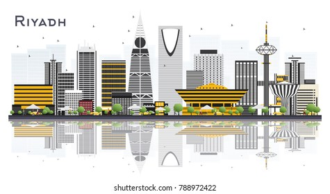 Riyadh Saudi Arabia City Skyline with Gray Buildings Isolated on White Background. Vector Illustration. Business Travel and Tourism Concept with Modern Architecture. Riyadh Cityscape with Landmarks.