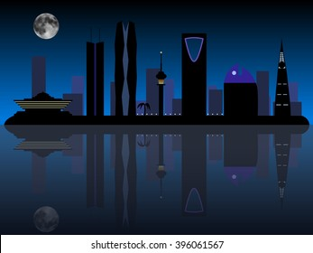 Riyadh Saudi Arabia night skyline silhouette