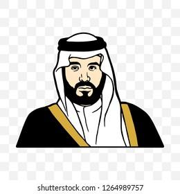 Riyadh, Saudi Arabia - September 23: Mohammed bin Salman bin Abdul Aziz Al Saud. Vector Illustration.