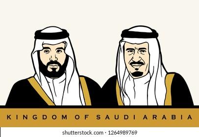 Riyadh, Saudi Arabia - September 23: Mohammed and Salman bin Abdul Aziz Al Saud. Vector Illustration.