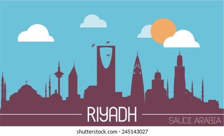 Riyadh Saudi Arabia skyline silhouette flat design vector illustration.