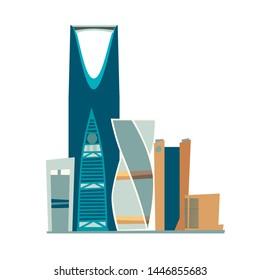 Riyadh Saudi Arabia skyline vector illustration. Riyadh skyline flat cartoon style icon isolated on white background