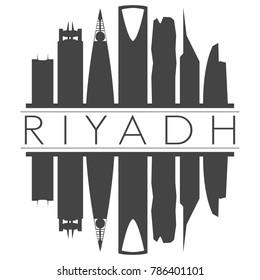 Riyadh Saudi Arabia Skyline Vector Art Mirror Silhouette Emblematic Buildings