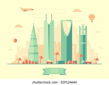 Riyadh skyline architecture, vector illustration with plane, cars and air balloon, flat design