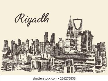 Riyadh skyline, big city architecture, vintage engraved vector illustration, hand drawn, sketch.