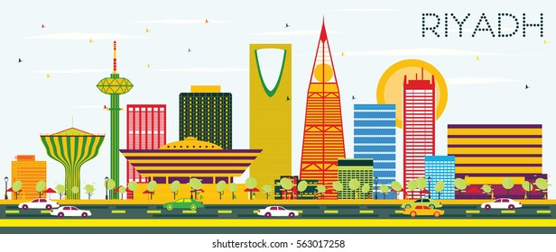 Riyadh Skyline with Color Buildings and Blue Sky. Vector Illustration. Business Travel and Tourism Concept. Image for Presentation Banner Placard and Web Site.