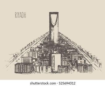 Riyadh skyline detailed silhouette, Saudi Arabia. Hand drawn, engraved vector illustration