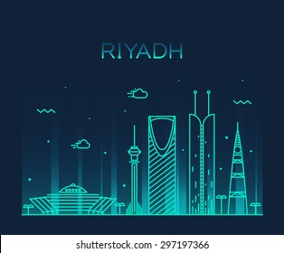 Riyadh skyline, detailed silhouette. Trendy vector illustration, linear style.