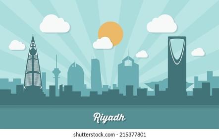 Riyadh skyline - flat design - vector illustration