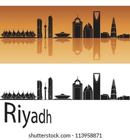 Riyadh skyline in orange background in editable vector file