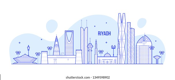 Riyadh skyline, Saudi Arabia. This illustration represents the city with its most notable buildings. Vector is fully editable, every object is holistic and movable