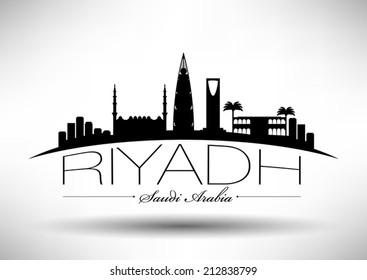 Riyadh Skyline with Typography Design