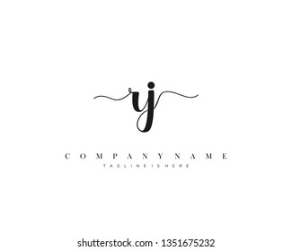 RJ initial handwriting logo template with luxury color vector.