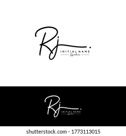 RJ Initial letter handwriting and signature logo.