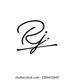 RJ initial signature logo. handwriting logo template vector,