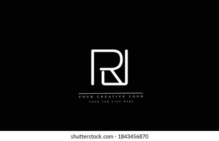 RJ JR abstract vector logo monogram template