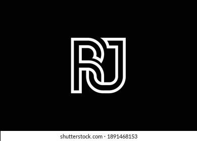 RJ letter logo design on luxury background. JR monogram initials letter logo concept. RJ icon design. JR elegant and Professional white color letter icon on black background.