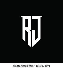 RJ logo monogram with emblem shield style design template