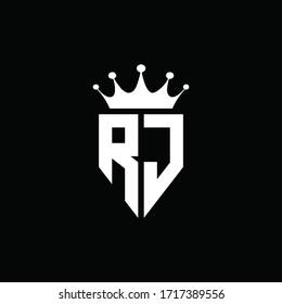 RJ logo monogram emblem style with crown shape design template
