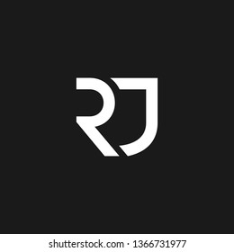 RJ or R J letter alphabet logo design in vector format.
