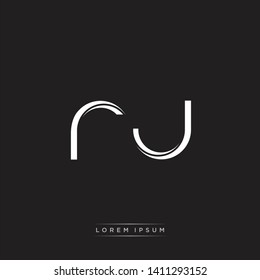 rj r j logo Initial Letter Split Lowercase Modern Isolated on Black White