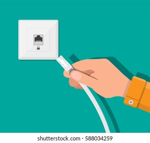 RJ45 LAN cable in hand and network socket. Internet. Vector illustration in flat style