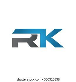 RK company linked letter logo blue