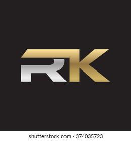 RK company linked letter logo golden silver black background