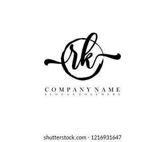RK initial handwriting logo circle template vector