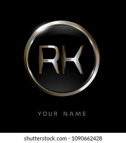 RK initial letters with circle elegant logo golden silver black background