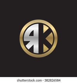 RK initial letters circle elegant logo golden silver black background