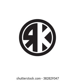 RK initial letters circle monogram logo